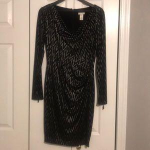 Long sleeve, zipper detail day dress